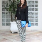 Look formal com calça listrada